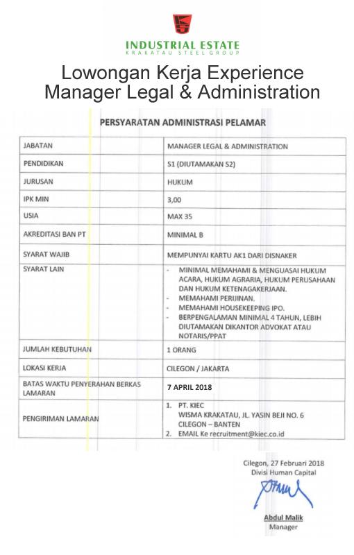 lowongan mgr legal experience
